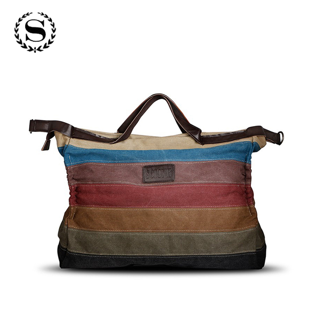 SCIONE new brand designers women large capacity canvas hand bags vintage  stripe patchwork tote female casual fe43a94c55