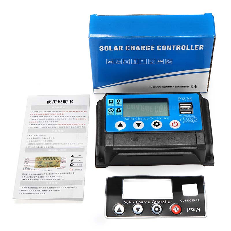 1Pc 60A 12V 24V Auto Solar Charge Controller Auto Work PWM With LCD Dual USB 5V Output Solar Cell Panel Regulator PV Home1Pc 60A 12V 24V Auto Solar Charge Controller Auto Work PWM With LCD Dual USB 5V Output Solar Cell Panel Regulator PV Home