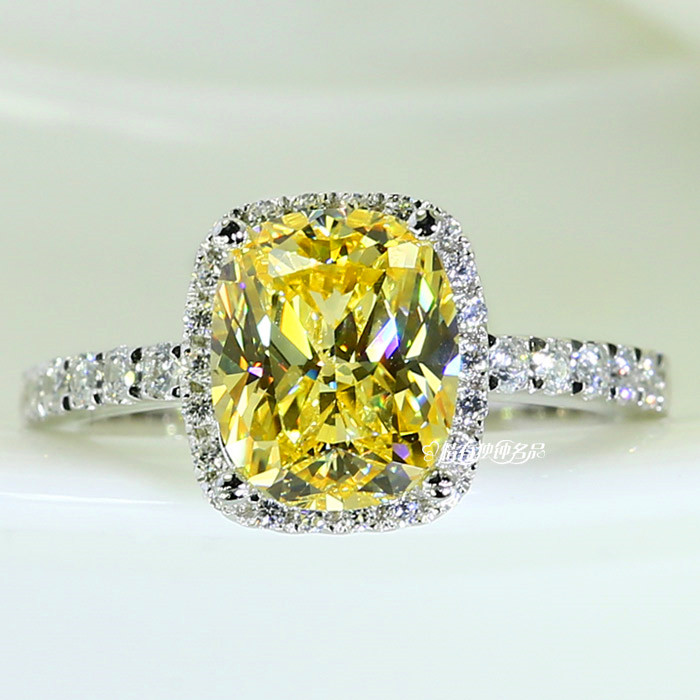 Luxury Female Girl Crystal CZ Stone Ring Boho Silver Color White Pink Yellow Ring Promise Engagement Rings For Women(China)