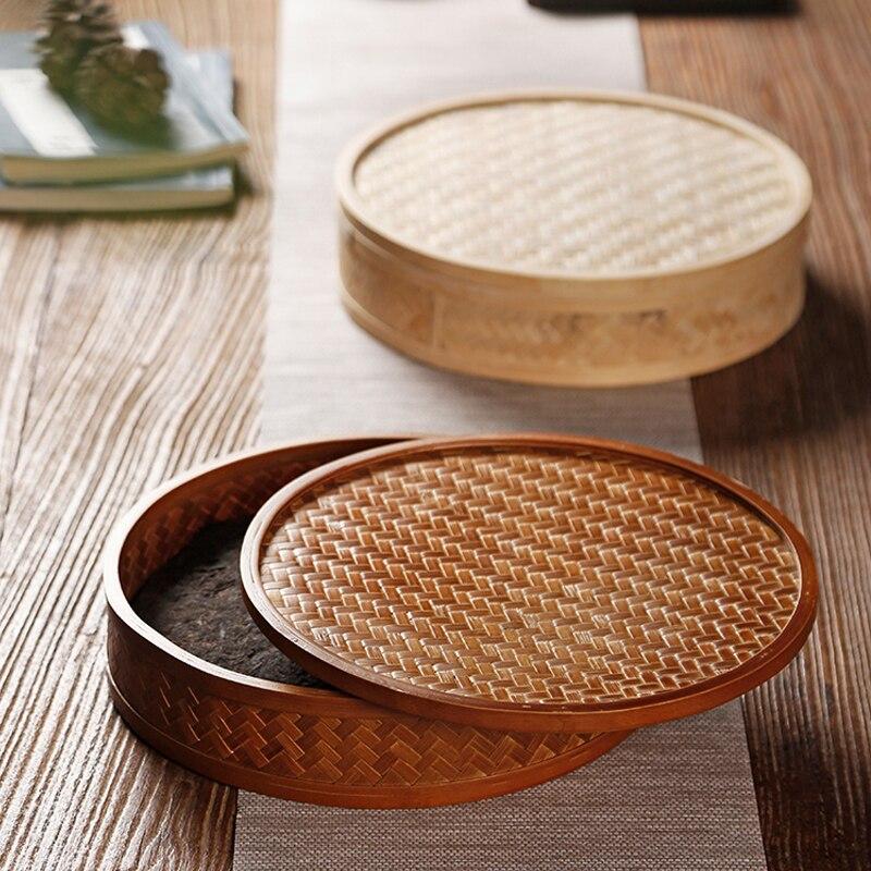Art tissage bambou rangement Puer boîte thé cérémonie plateau thé support de gâteau assiette ronde avec couvercle Kit Teaware outil accessoires décor