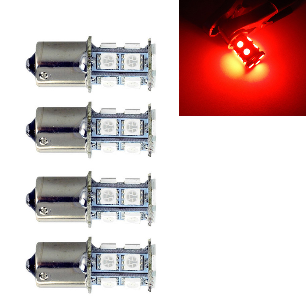 CYAN SOIL BAY 4X 1156 BA15s P21W R5W 1459 1093 13-SMD LED Car Backup Tail Light Bulb Red 12V 24V цена и фото