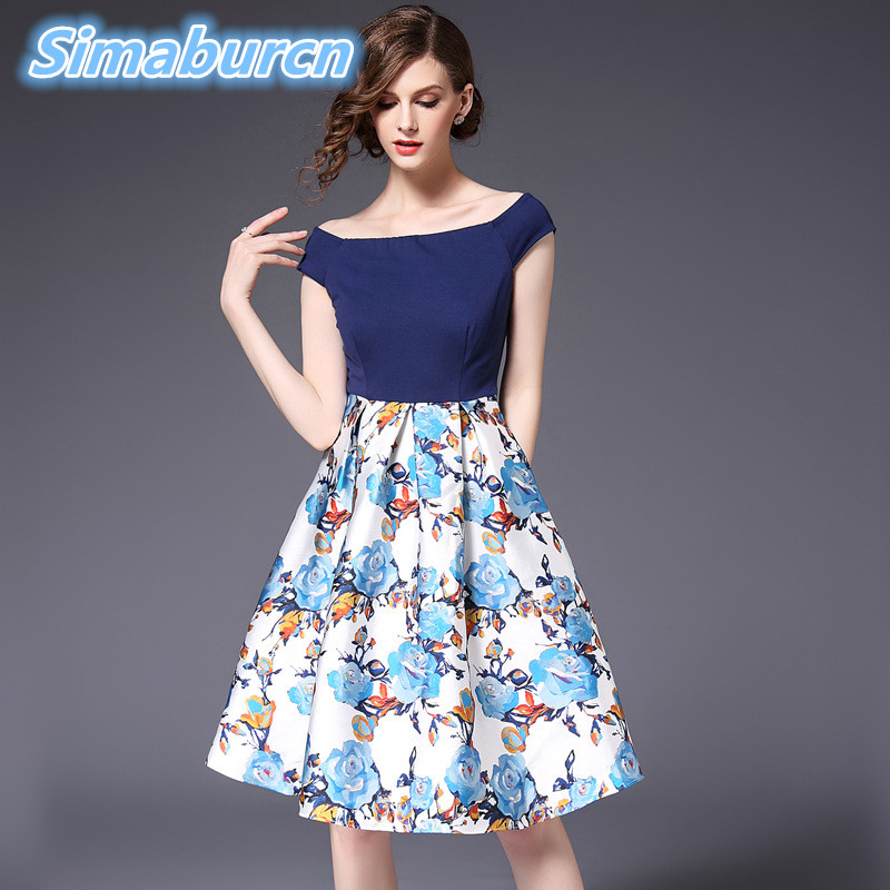 Women Casual Dress 2018 Spring Summer Flowers Printing Vestidos For Female Pullover A Line Sleeveless Sexy Dresses New Arrival in Dresses from Women 39 s Clothing