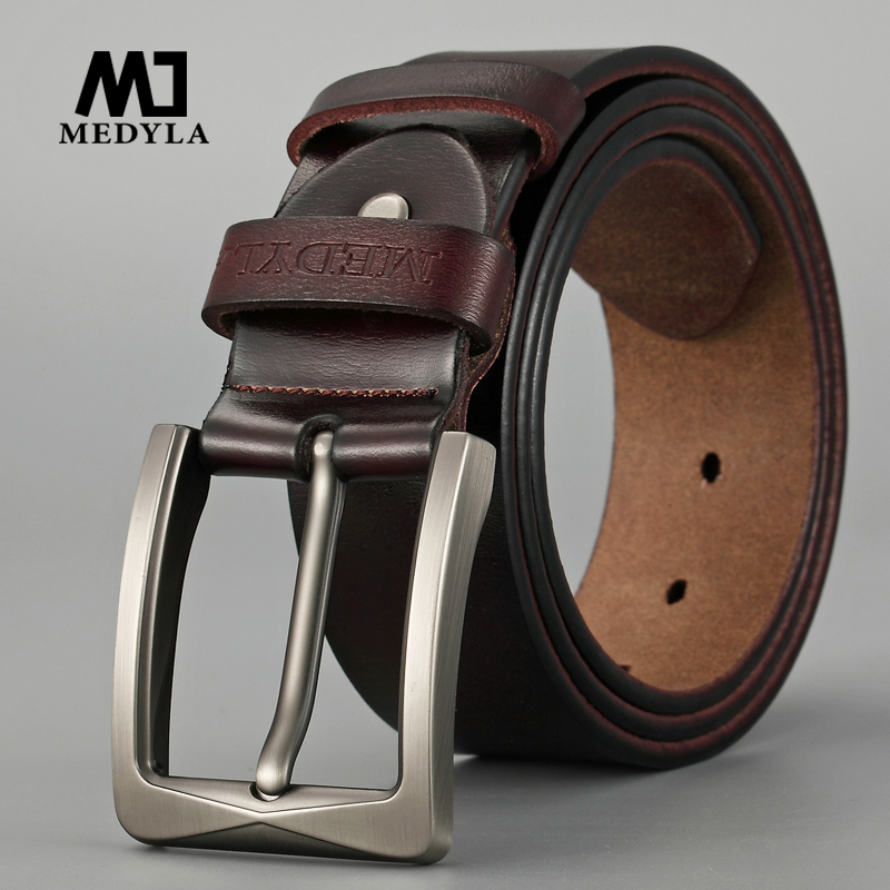 MEDYLA Genuine Leather   Belts   for Men Luxury Strap Male   Belts   Classic Vintage Cowbody Black   Belt   Casual Cummerbund for Male Jeans