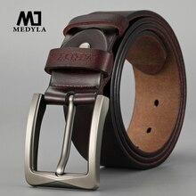 MEDYLA Genuine Leather Belts for Men Luxury Strap Male Belts