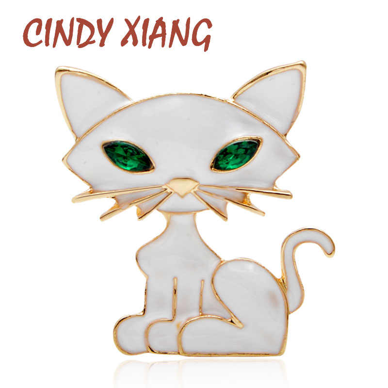 CINDY XIANG New Arrival White Color Enamel Cat Brooches for Women Fashion Animal Cute Carton Kids Jewelry Summer Accessories Pin