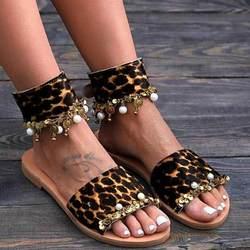 Леопардовые принты; жемчужные бусы с открытым носком; Украшенные шлёпанцы в римском стиле; летние пляжные женские модные сандалии на