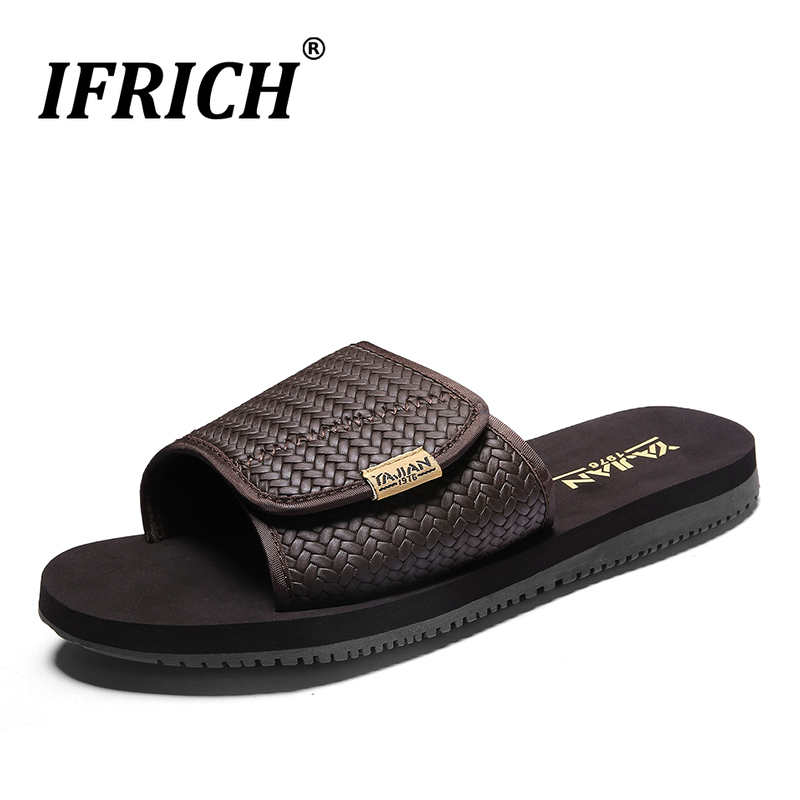 Hot Sale Mens Slippers Indoor Black Brown Mens House Shoes Comfortable Flat Mens Slides Shoes Hard-Wearing Mens Brand Slippers