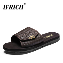 Hot Sale Mens Slippers Indoor Black Brown House Shoes Comfortable Flat Slides Hard-Wearing Brand