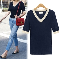 Preppy style half sleeve pathcwork t shirt women v neck knitted slim tops summer 2019 new arrivals 5colors plus size