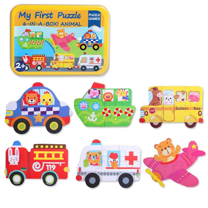 17 CM apprentissage éducation jouets en bois Puzzle pour enfants Cube magique jouets éducatifs pour enfants Puzzle Six en un Puzzle jouet
