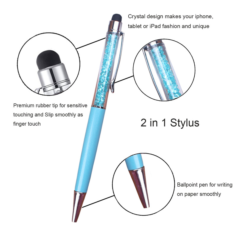 6 Pcs/Set 2-In-1 Stylus Pen Crystal TouchScreen Ballpoint Pens For Writing School Office Stationery HJ55