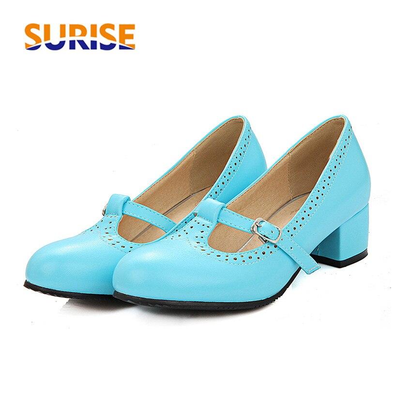 Big Size 4cm Low Medium Block Heels Women Pumps PU Leather Round Toe Casual Office Summer