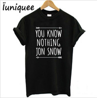 Women T Shirt You Know Nothing Jon Snow Printed Letter T Shirt 2017 Summer Games Of