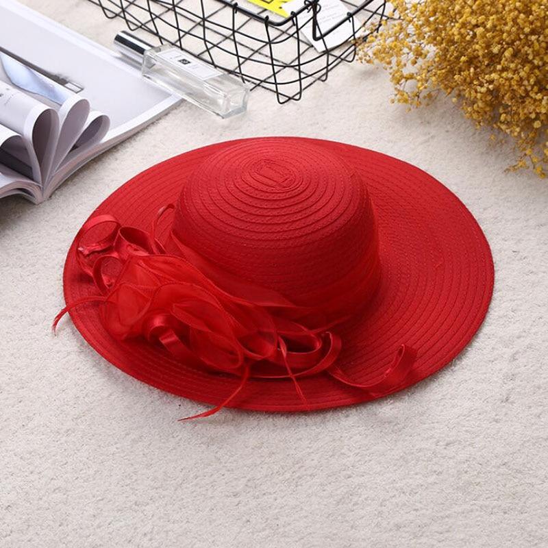 Women Sun Hat Satin Feather Summer Hat Women Solid Wide Brim UV Protection Sun Beach Cap Party Wedding Kentucky Derby Church Hat