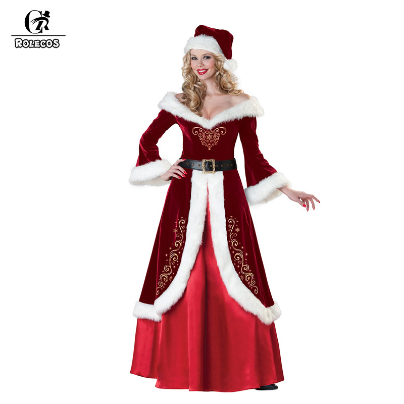 ROLECOS Christmas Dress Costumes for Women Santa Claus Cosplay Brand Red Winter Long Dress with Belt and Hat