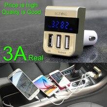 Calidad 5 V 3.1A USB Smart Cargador de Coche Adaptador 3 USB puerto para iphone todos los teléfonos para el dvr del coche y gps, LCD Voltaje de Detección Actual