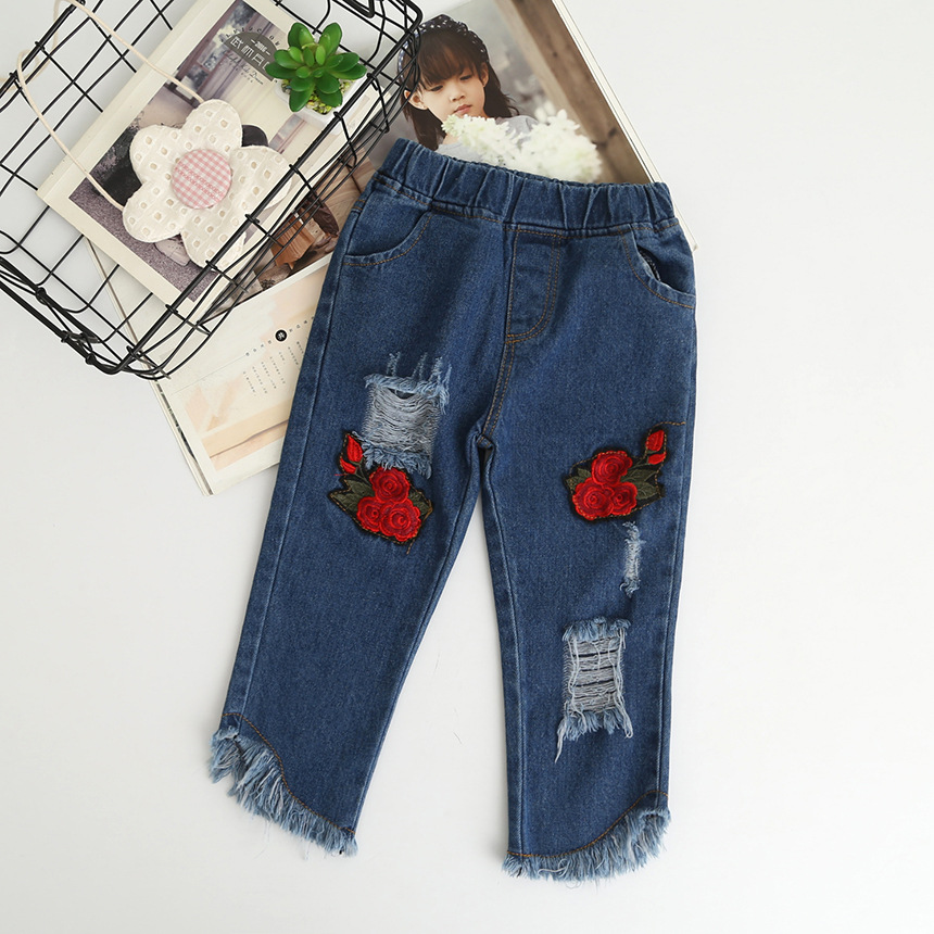Everweekend Kids Baby Casual Embroidery Rose Flowers Long Length Jeans Children Ripped Tassel New Denim Pants