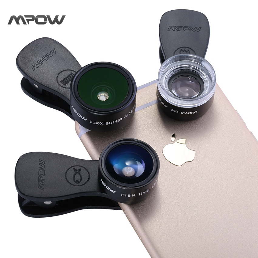 MFE4 Mpow 3 in 1 Clip-On Mobile Phone Lens Kits 180 Degree Fisheye Lens + 0.36X Wide Angle Lens + 20X Macro Lens 3 Separate Lens