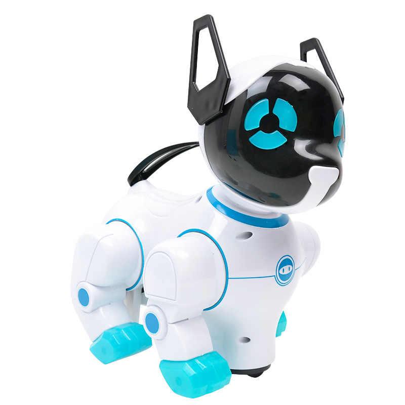 Animaux De Compagnie électroniques Robot Chiens Avec Musique éclairage écorce Stand Marche Roue Universelle Mignon Interactif Chien électronique