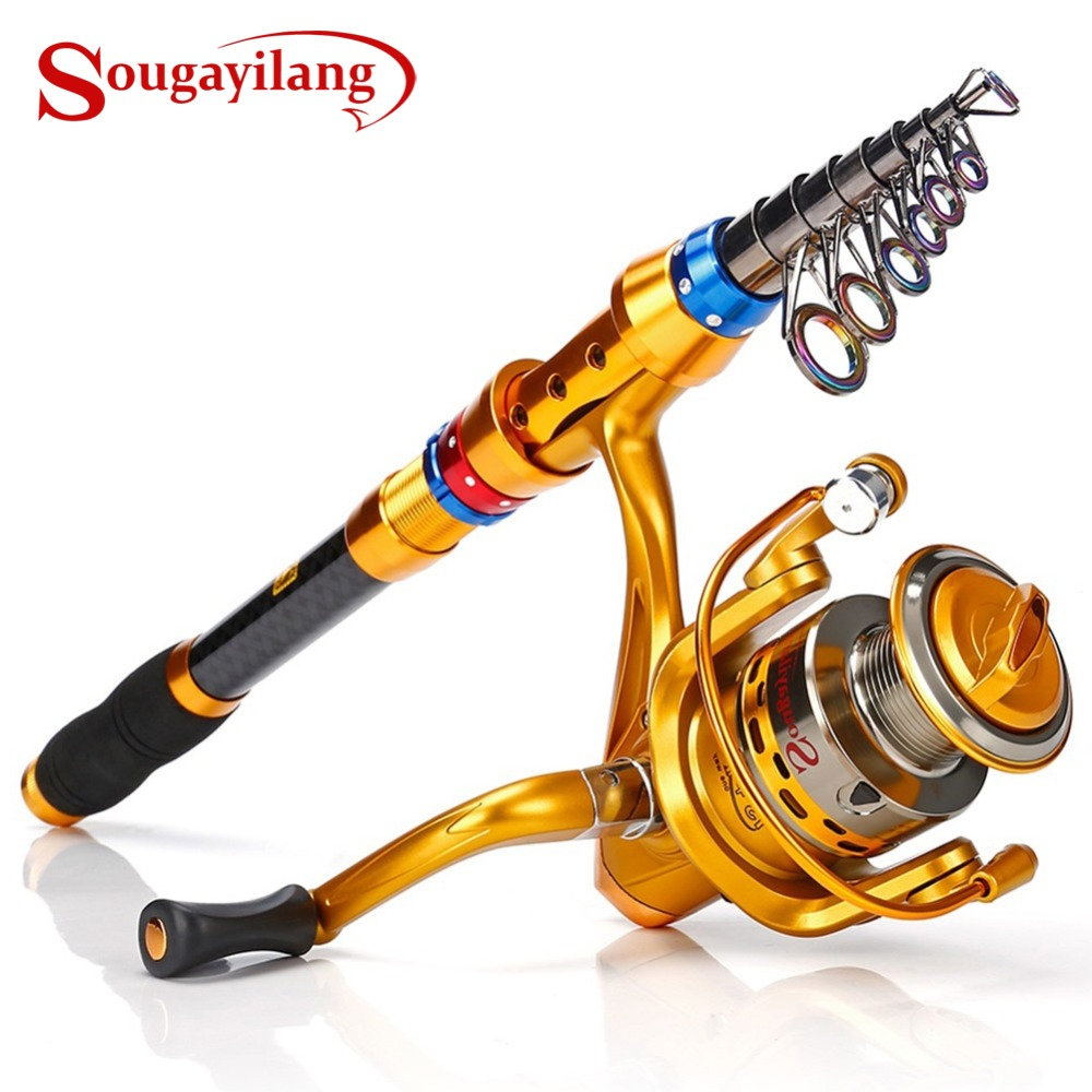 Sougayilang Telescopic Saltwater Freshwater Fishing Rod Portable with 13+1 Superior Ball Bearings Smooth Spinning Reel|Rod Combo| |  - title=