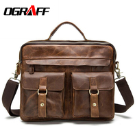 OGRAFF Genuine Leather Bag Designer Handbags High Quality Cowhide Tote Briefcases Brand Business Crossbody Bag Men