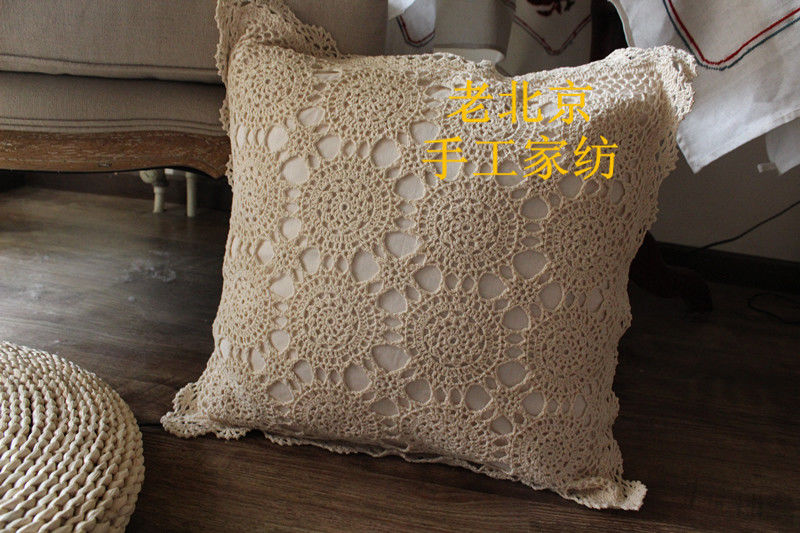 Free Shipping Vintage Cotton Handmade Crochet Cusioncover Net Lace