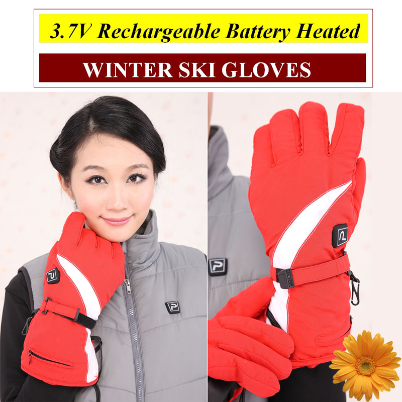 2016 New Brand Ski Gloves 3.7V Electric Heating Gloves with 2200mA Rechargeable Lithium Battery Heated Gloves for Winter Outdoor 1 pair 4000mah rechargeable battery with smart switch on off electric heated warm glove winter outdoor work ski warmer gloves
