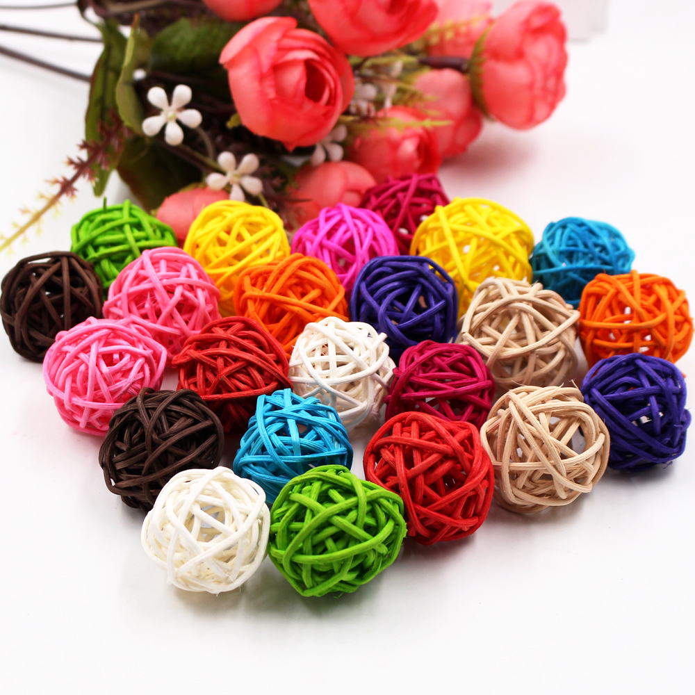 5/10Pcs 3cm Colorful Rattan Ball Artificial Flowers Ball Christmas New Year Party Decoration Children Gifts DIY Craft Supplies