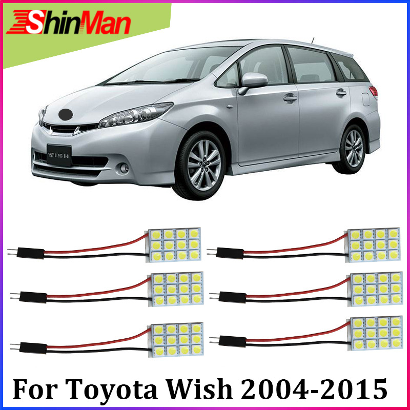 ShinMan 6X Error Free Auto Master LED Car Light Interior Light LED Reading Light Kit For Toyota Wish 2004-2015 Accessories