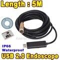 Мини USB Эндоскопа 5 М IP67 Водонепроницаемый Borescope Инспекции Камеры HD Медь 14 ММ Объектив Гибкая Трубка Змея Область 4 Светодиодов