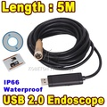 Mini USB Endoscope 5M IP67 Waterproof Video Borescope Inspection Camera HD Copper 14MM Lens Flexible Tube Snake Scope 4 LEDs