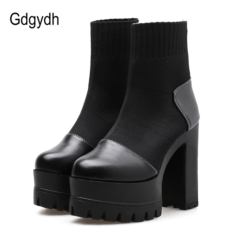 Gdgydh 2018 Woman Ankle Boots Women Slip On Round Toe Rubber Sole Ladies Shoes Autumn Platform Heels Booties Shoes Promotion gdgydh women platform heels ankle boots zipper high heels female booties shoes black round toe ladies shoes big size 2018 autumn