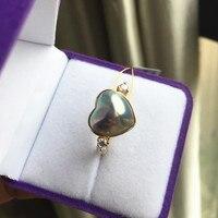 Для женщин подарок Слово 925 стерлингового серебра натуральным японский Пуй жемчуг кольцо с 13 14 мм Серебряное сердце