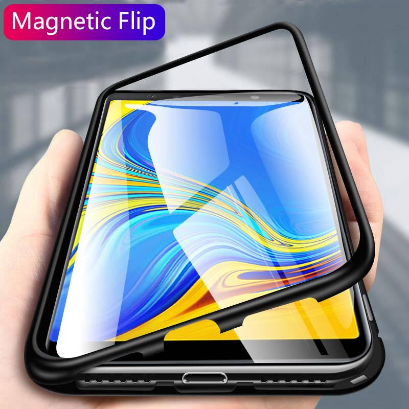 Para Samsung Galaxy S9 S8 Plus Nota 9 8 S7 Borda Magnética Caso Caixa De Metal de Vidro Transparente Para Samsung A9S a7 A9 J6 2018 J4 J6 Plus +