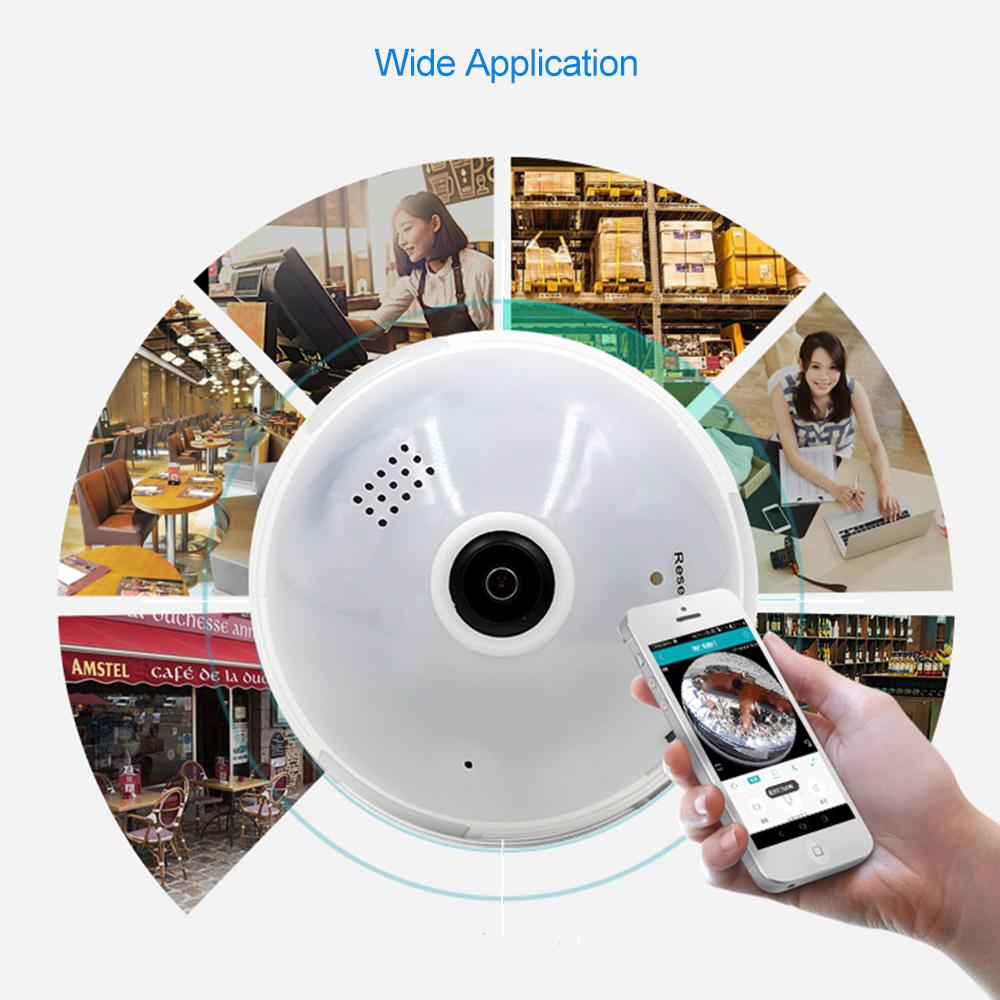Wifi Camera Wireless IP 960P Panoramic Fish-Eye Home Security CCTV Camera 360 Degree Night Vision TF Card Recording iCSee App