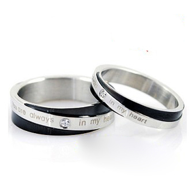 Atgo His And Hers Promise Ring Sets Rhinestone Stainless Steel Love Rings Tungsten Wedding Band Smart