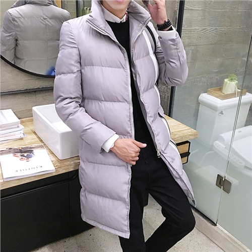 In the long winter coat young men Korean slim type collar cotton Metrosexual thick warm winter coat