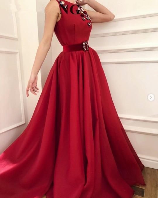 Burgundy Muslim   Evening     Dresses   2019 A-line Scoop Beaded Formal Islamic Dubai Saudi Arabic Long Elegant   Evening   Gown Prom Gown