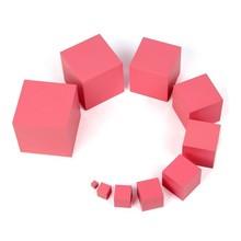 1 set/10 pcs En Bois Rose Tour Toy.7cm Grand Éducatifs Bébé Montessori Blocs de Construction. Enseignement Jeu Jouets