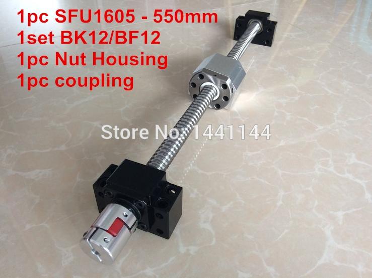1605 ballscrew  set : SFU1605 - 550mm Ball screw -C7 + 1605 Nut Housing + BK/BF12  Support  + 6.35*10mm coupler