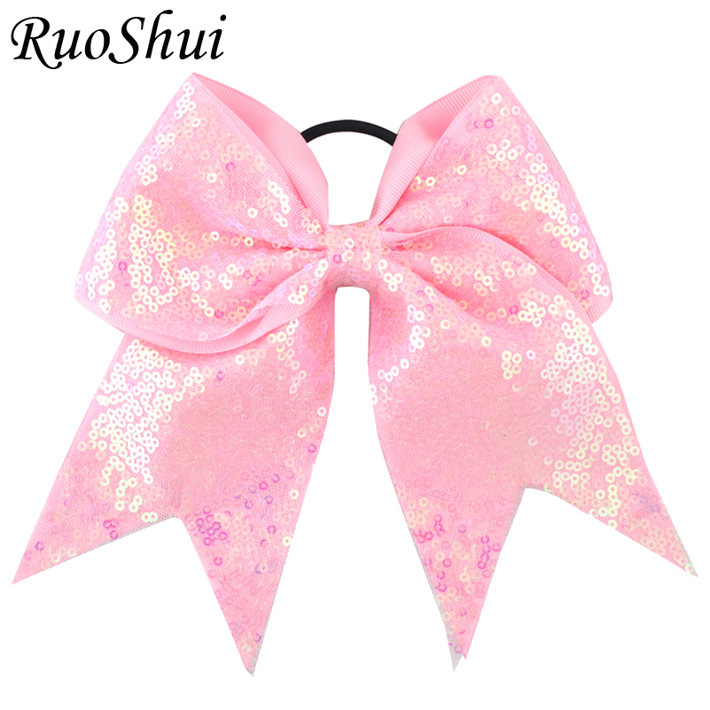 29 Colors 7 Inch High Quality Girls Sequins Ribbon Hair Bows Children Sweet Elastic Hair Bands DIY Large Hair Accessories