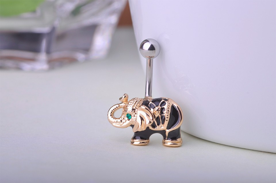 HTB1IuybHVXXXXckXXXXq6xXFXXXz Cute Gold Body Piercing Jewelry Elephant Navel Ring - 2 Colors