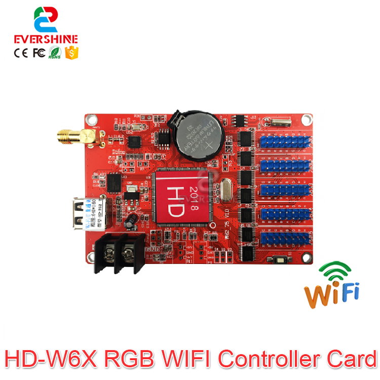 2019 New Products Support App HD-W60-75 And HD-W62-75 Wifi And U-disk Full Color LED Module Display Screen Controller Card