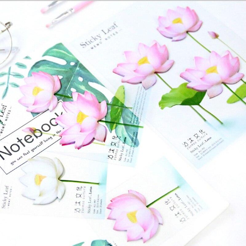 1 stks / partij Leuke Romantische lotus N-plakken Memo Pad Sticky - Notitieblokken en schrijfblokken bedrukken - Foto 5