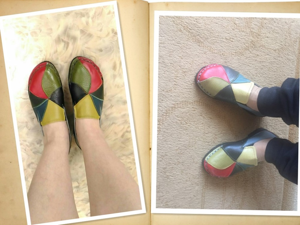 Sapatos de couro genuíno das mulheres mocassins