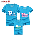 """Ming Di New 2016 Casual Summer Style Brand Mother Daughter T-Shirt """"Dad"""" """"Mom"""" """"Baby"""" Matching Family Clothes Father Son Clothes"""