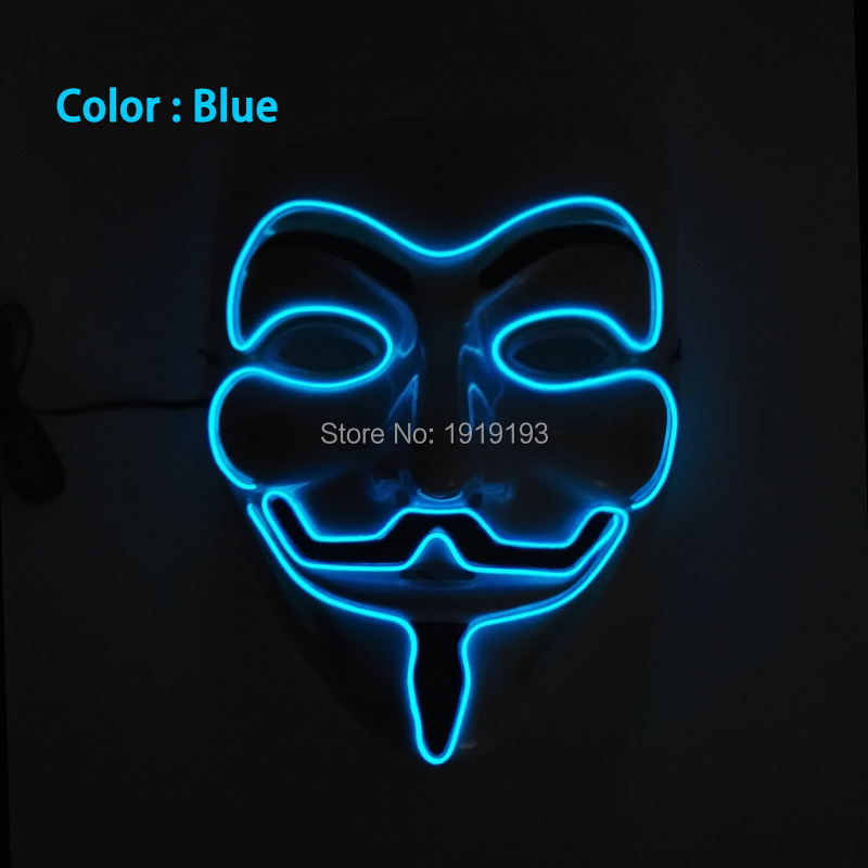 New style DC-3V 10 Colors Select Cosplay EL Wire Light Up dj dance led V Vendetta rave Mardi party club holiday lighting Mask