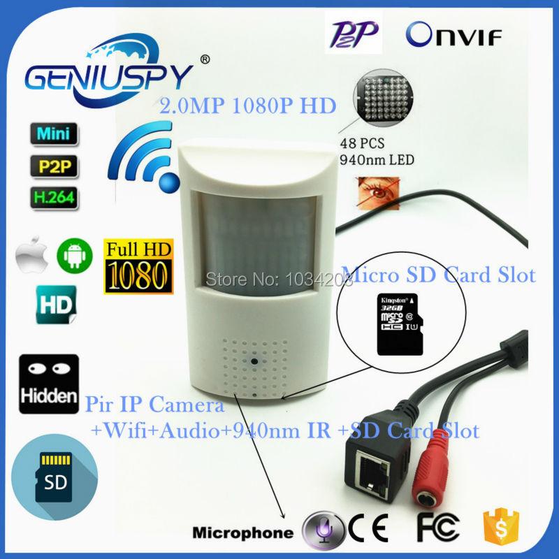 HD P2P Mini IP Wifi Wireless Pinhole PIR Camera 1080P 2MP 940NM Invisible Night Vision Onvif