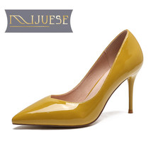 MLJUESE  women pumps thin heels autumn spring patent leather pointed toe sapatos de salto alto office & career high heels