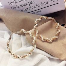 MENGJIQIAO 2019 nueva Declaración imitación perla envolver grandes pendientes de círculo para mujeres personalidad moda aro accesorios de oreja Brinco